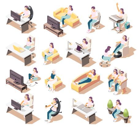 Set von isolierten isometrischen Ikonen des sitzenden Lebensstils von Menschen, die in verschiedenen Umgebungen mit Möbelstücken sitzen Vektorgrafik