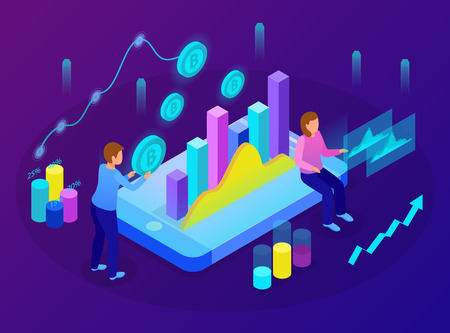 Professional business analytics cloud based data insights online service glow isometric composition on smartphone screen vector illustration