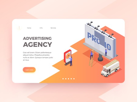 Advertising agency isometric horizontal banner with people changing billboard 3d vector illustration