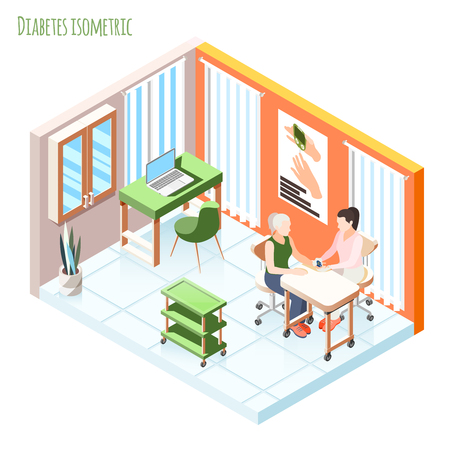 Diabetes isometric composition with patient and doctor showing meter measures blood sugar level vector illustration Banco de Imagens - 128160786