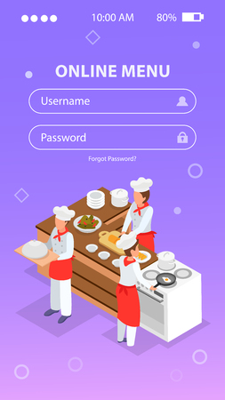 Isometric login form background with people cooking in restaurant kitchen 3d vector illustration