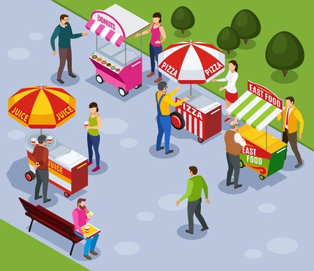 Street vending carts isometric composition with people buying fast food in city park