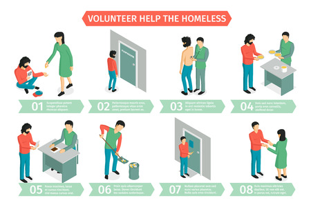 Isometric charity horizontal composition with infographic images of people during extracurricular activities with editable text captions vector illustration