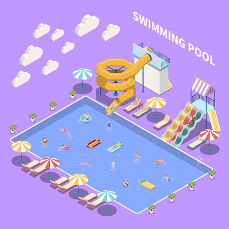 Water park aquapark isometric composition with view of open pool with umbrellas sun loungers and waterslides vector illustration