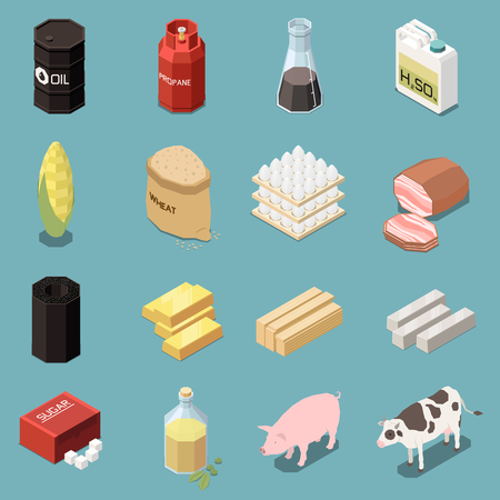 Commodity icons isometric collection of sixteen images with industrial and manufactured goods with animals and food vector illustration