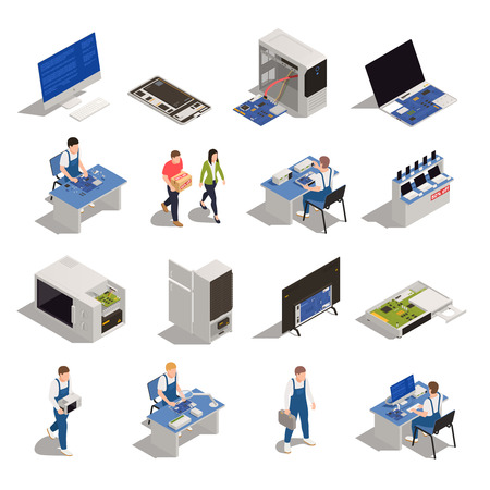 Warranty service isometric icons set of electronics and household appliances need of diagnostics or repair isolated vector illustration