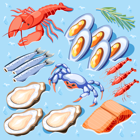 Fish superfood isometric poster with mussels crawfish crabs shrimp oysters lobster icons vector illustration Illustration