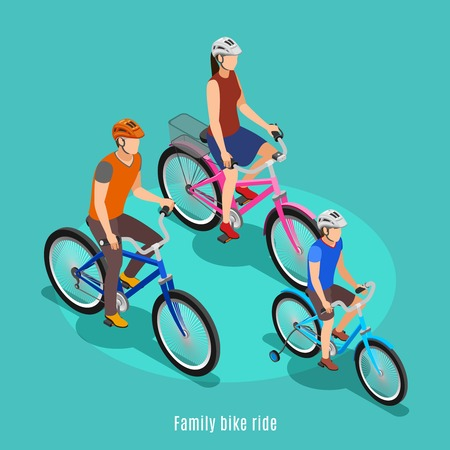 Active family isometric with father son and daughter riding bike in helmets Vektorové ilustrace