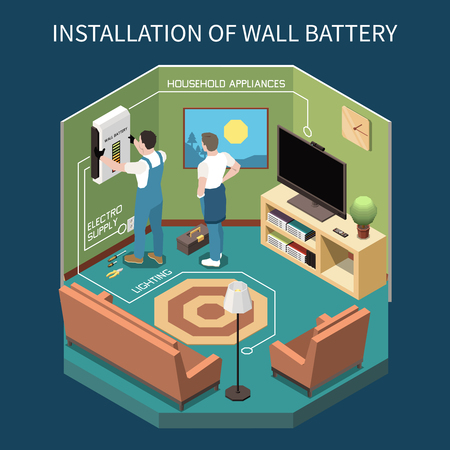Electricity isometric composition with indoor view of room with two workers installing power supply to wall vector illustration Stock Illustratie