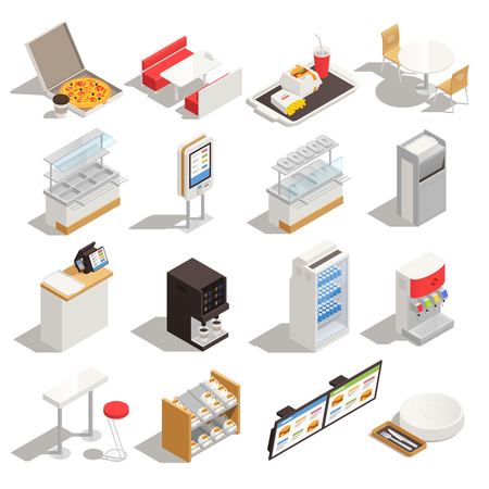 Fast food isometric set with elements of self service restaurant interior furniture equipment and menu isolated vector illustration