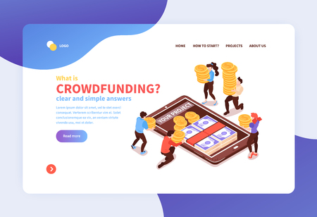 Online mobile banking concept isometric website banner with crowdfunding raising  money on smartphone screen symbol Illustration