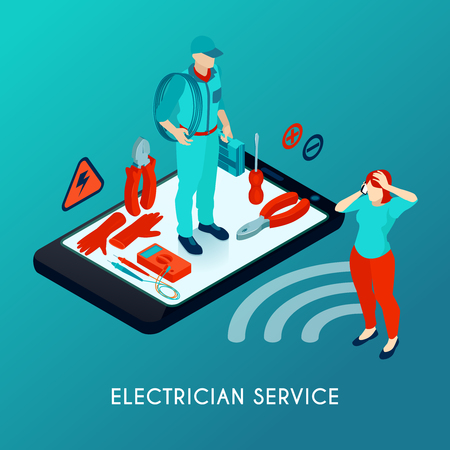 Electrician online service isometric composition with repairman in uniform with tools equipment on smartphone screen vector illustration  イラスト・ベクター素材