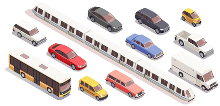 Icônes isométriques de transport définies avec un van de train de voiture de bus isolé sur blanc Vecteurs