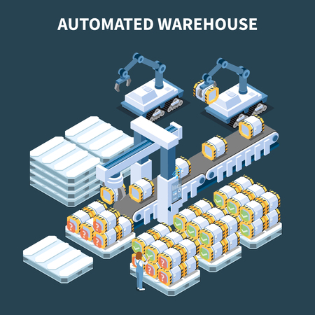 Smart industry intelligent manufacturing isometric composition with images of automated arm manipulators conveyor and storage cans vector illustration