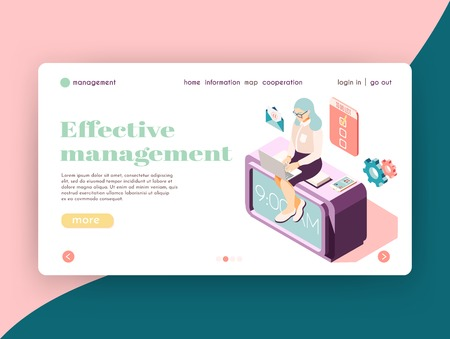 Effective management isometric landing page website design with female character at work icons and clickable links vector illustration Ilustração