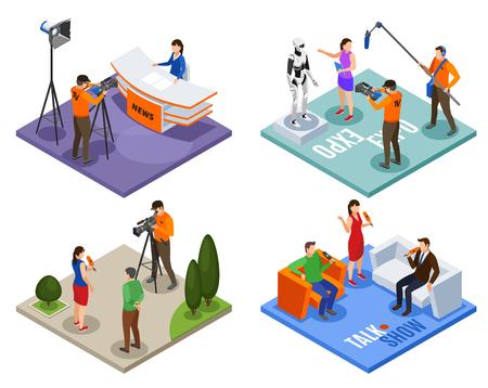 Conjunto de concepto de diseño de radiodifusión 2x2 de exposiciones de noticias de programas de entrevistas y composiciones isométricas de entrevistas en la calle