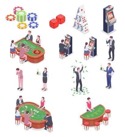 People in casino isometric icons set isolated on white