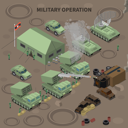 Military operation isometric composition with  tent for soldiers radar installation and rocket launchers