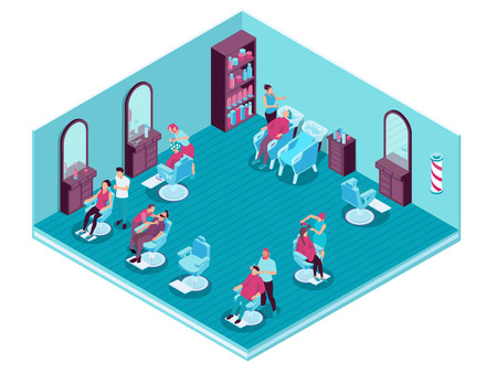 Hairdressers serving their clients in barbershop 3d isometric vector illustration