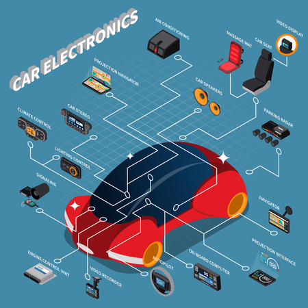Car electronic devices isometric flowchart with massage seat climate control video recorder navigator on blue Ilustração