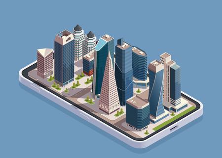 Isometrisches Konzept der Stadtwolkenkratzer mit Smartphone-Körper und Block moderner Gebäude auf der Bildschirmvektorillustration Vektorgrafik