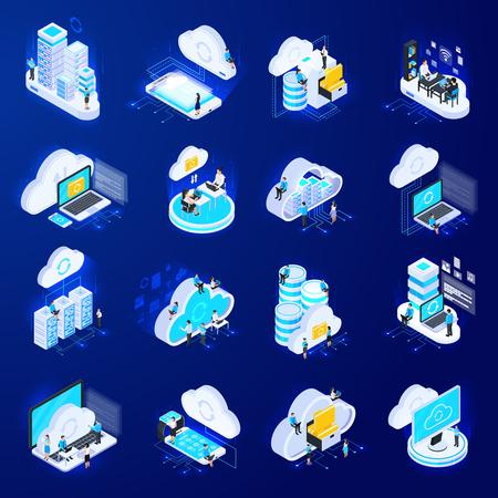 Conjunto de dieciséis iconos isométricos de servicios en la nube aislados con pictogramas de silueta plana e imágenes de computación 3d ilustración vectorial