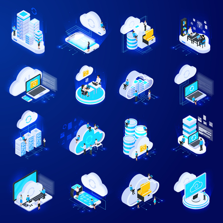 Set of sixteen isolated cloud services isometric icons with flat silhouette pictograms and 3d computing images vector illustration