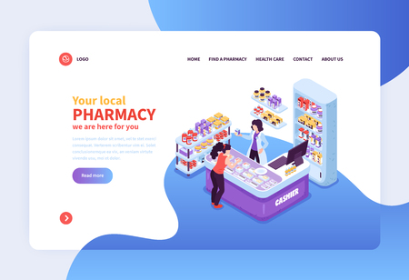Concept banner with customer and cashier workplace in local pharmacy 3d isometric