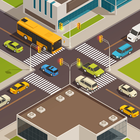 Colored and isolated city isometric composition with road and crosswalk at the city center