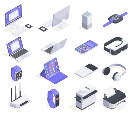 Modern devices isometric icons collection with sixteen isolated images of computers peripherals and various consumer electronics