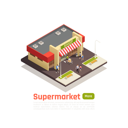 Isometric store mall shopping center concept isolated square piece of earth with store building Illustration