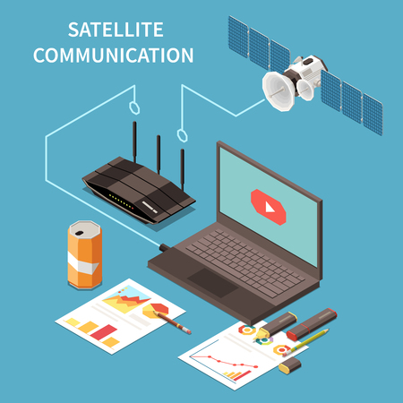 Telecommunication isometric composition with laptop router satellite on blue