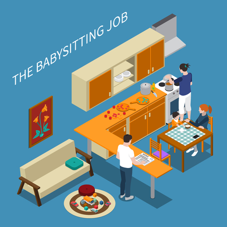 Isometric composition with babysitter feeding boy and parents cooking and reading newspaper Ilustracja