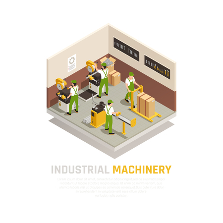 Industrial machinery isometric composition with factory workers symbols