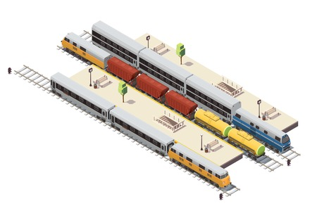 Railway station isometric composition with passenger platforms tunnel staircase entrance freight train and double decker vector illustration