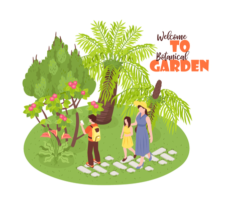 Isometric botanical garden background with view of wild nature park walking human characters and ornate text vector illustration