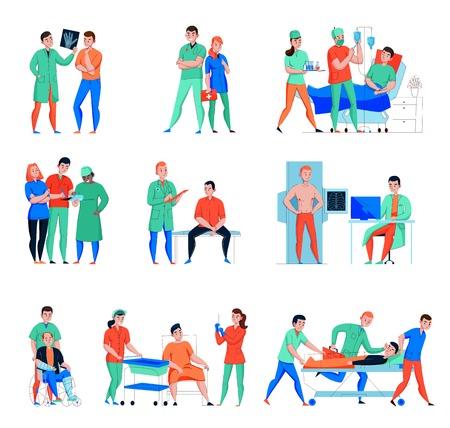 Los caracteres planos del paciente del doctor de la enfermera del hospital fijaron con el servicio de emergencia y el laboratorio de rayos x aislaron la ilustración del vector Ilustración de vector