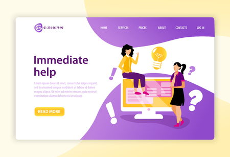 Call centre landing page with immediately help text and read more button flat vector illustration