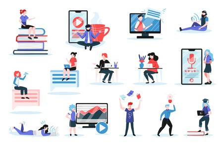 Online training set with professional lecturers giving lessons on internet and students using gadgets for learning isolated vector illustration