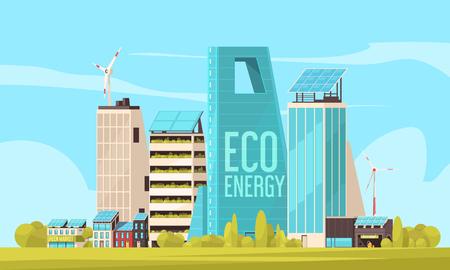 Complexe de logements conviviaux pour les résidents de la ville intelligente avec des terres efficaces et une illustration vectorielle verte et propre de l'utilisation de l'énergie écologique