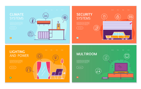 Smart house 4 flat banners concept with internet of thing controlled lighting climate security systems vector illustration Banque d'images - 123672214