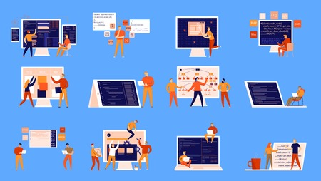Flat set of colorful icons with programmers working on computers isolated on blue background vector illustration