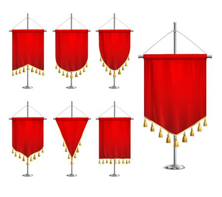 Satin red various shapes pennants with golden tassel fringe on steel spire pedestal realistic set vector illustration Иллюстрация