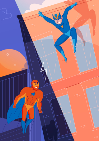 Superheroes fight against villains comics games characters with flying super man and jumping speed hero vector illustration