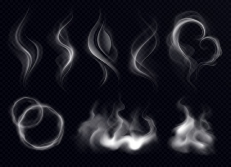 Steam smoke with ring and swirl shape realistic set white on dark transparent background isolated vector illustration  Illustration