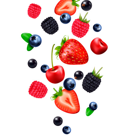 Falling berry fruit realistic composition with images of falling berries and strawberry slices on blank background vector illustration 版權商用圖片 - 123672219