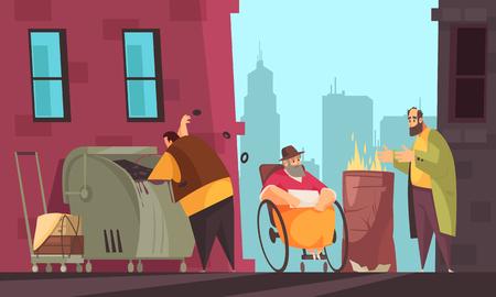 Gente pobre que sobrevive al invierno en las calles de la ciudad en busca de comida en la ilustración de vector de banner plano de bote de basura