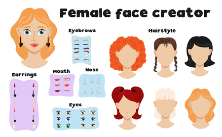 Female face constructor set of eyebrows hairstyle nose mouth eyes elements to create girl face flat vector illustration