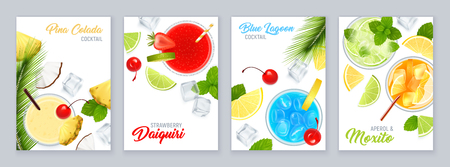 Cocktails top view poster set with tropical fruit realistic isolated vector illustration Çizim