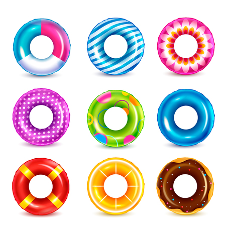 Set of isolated color inflatable rubber swimming rings realistic images with colourful pattern on blank background vector illustration